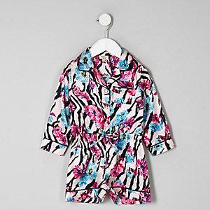 Mini girls pink zebra floral pyjama playsuit