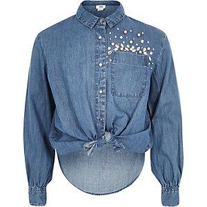 Chemise bleue boutonnée ornée pour fille