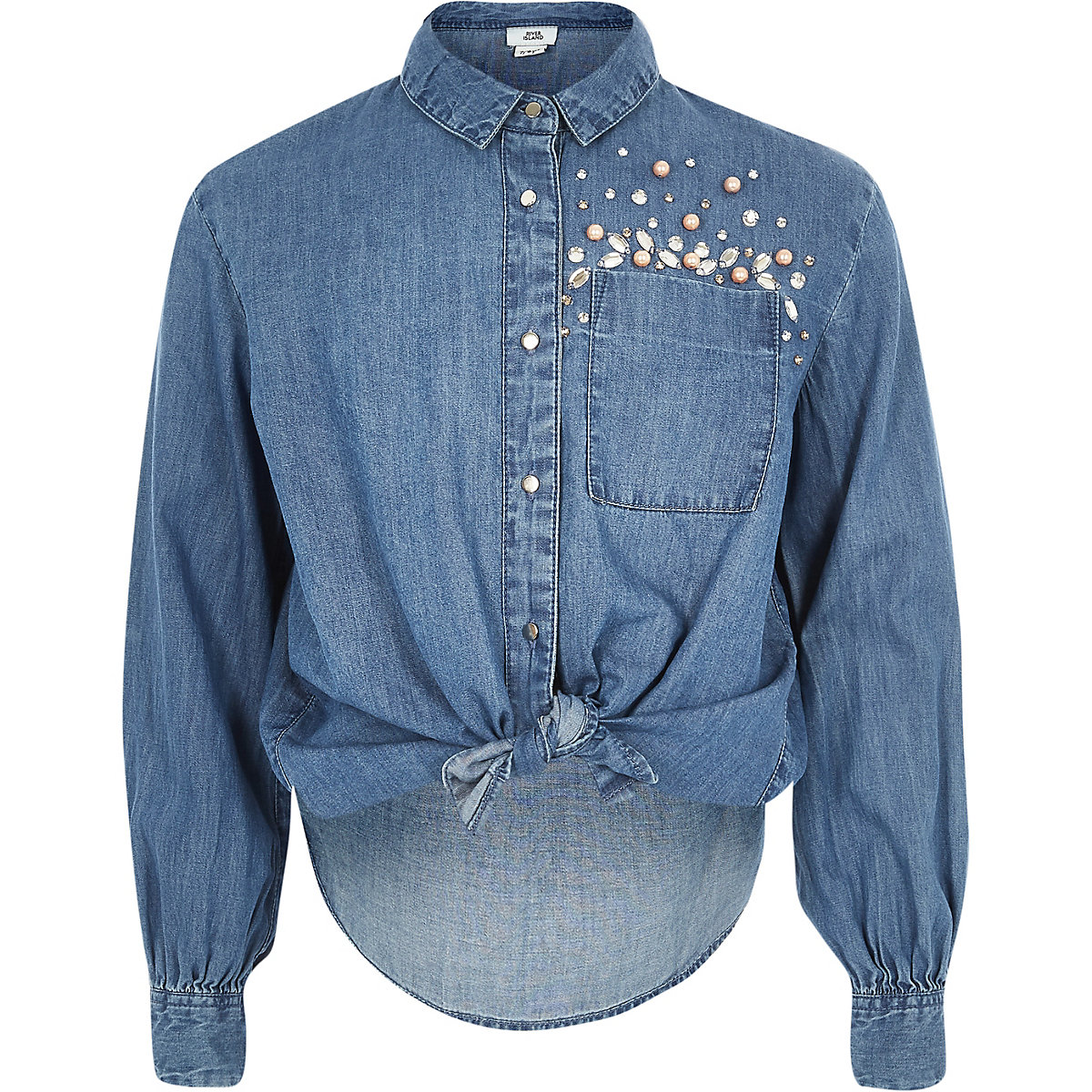 Girls blue embellished button-up tie shirt