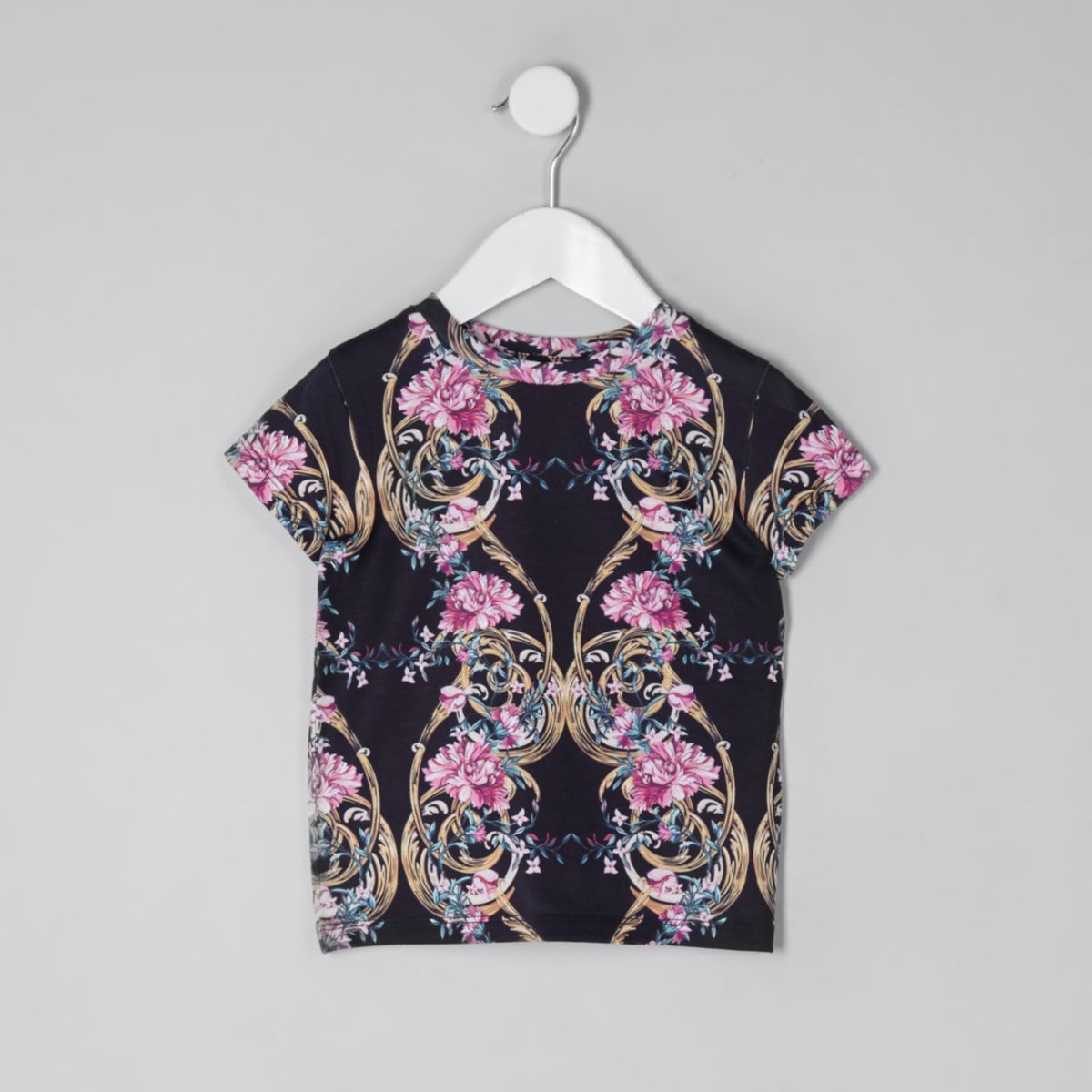 Mini girls navy floral T-shirt
