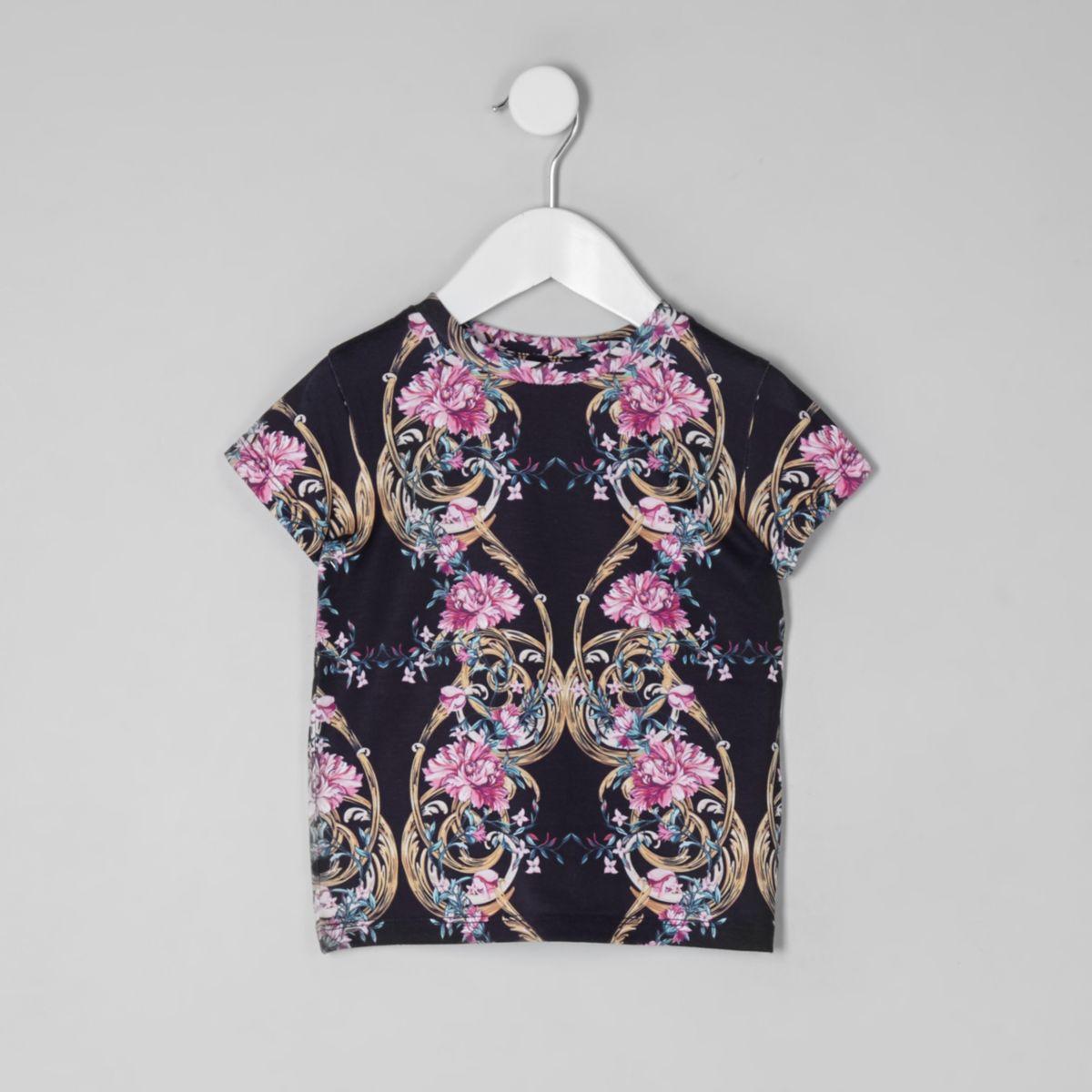 Mini girls navy floral T-shirt