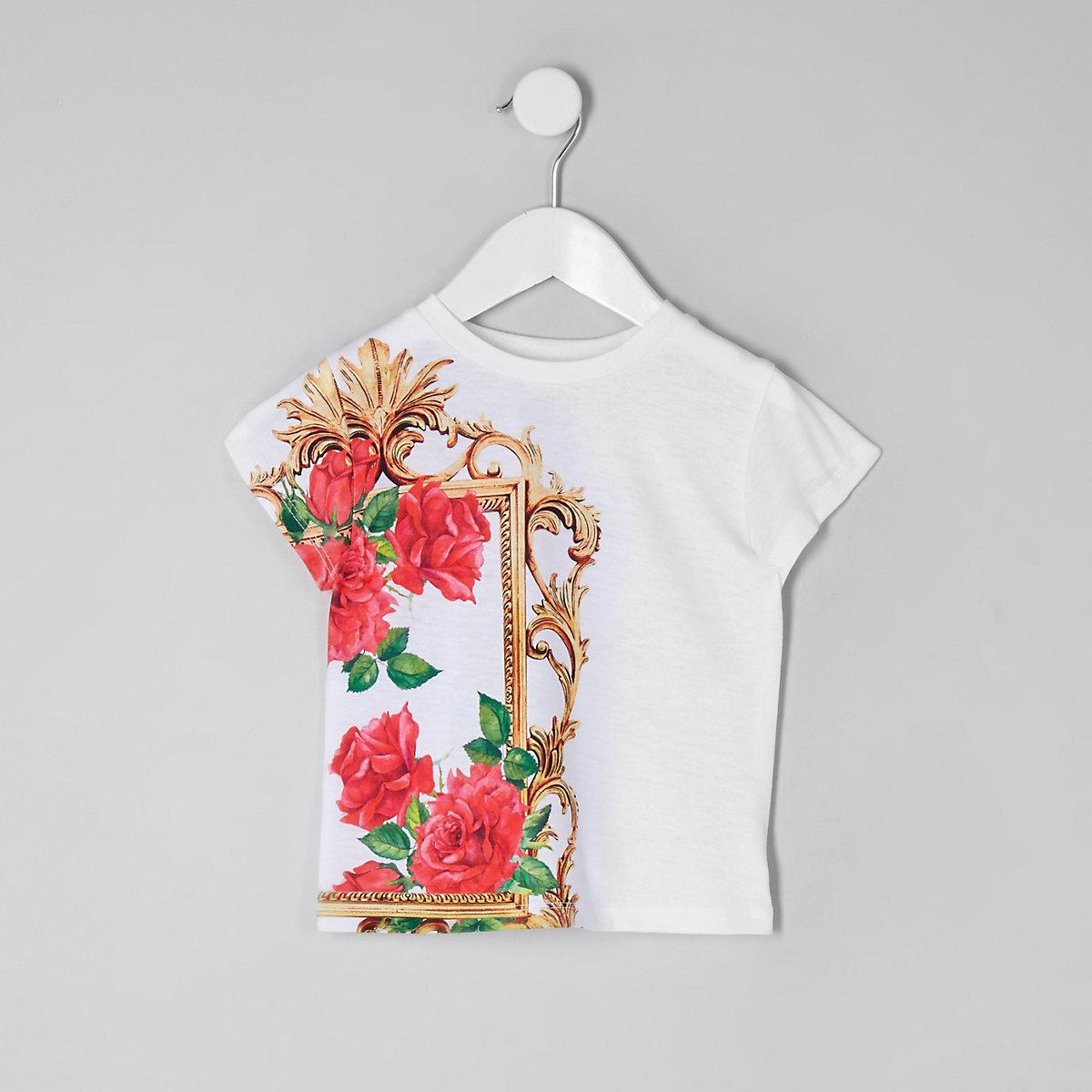 Mini girls white rose print T-shirt