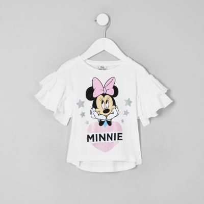 Mini Girls White Minnie Mouse Frill T Shirt by River Island