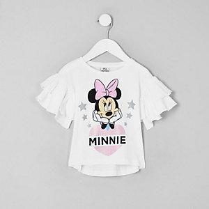 Mini girls white Minnie Mouse frill T-shirt