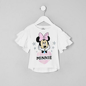 T-shirt Minnie Mouse blanche à volant mini fille