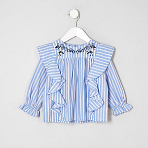 Mini girls blue stripe swing top