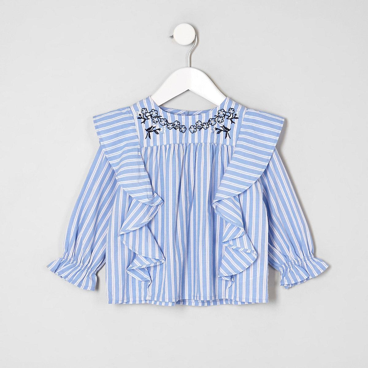 Mini girls blue stripe swing top