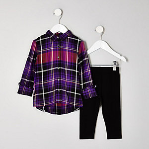 Mini girls purple check shirt outfit