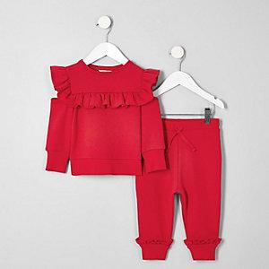 Ensemble jogging rouge à volants mini fille