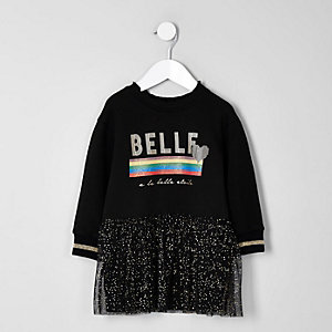 Mini girls black 'Belle' glitter sweat dress