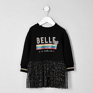 Robe sweat à imprimé « Belle » pailleté noire mini fille
