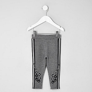 Mini girls grey check floral tape leggings