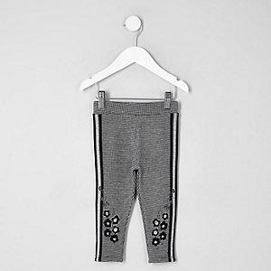 Legging à carreaux gris avec bande à fleurs mini fille