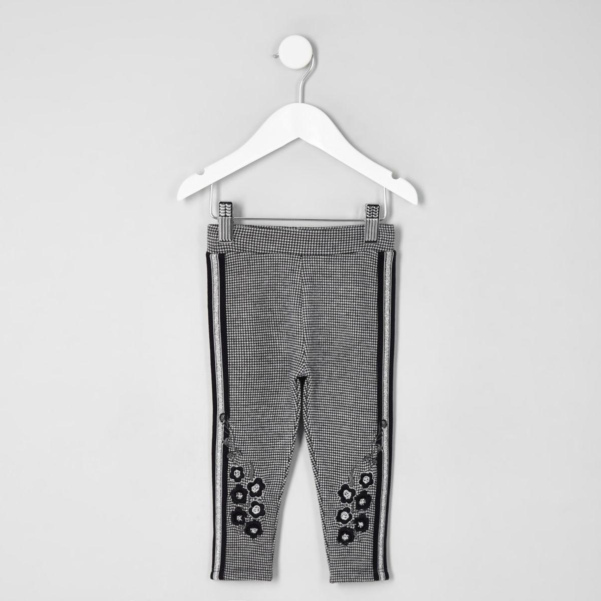 Mini girls grey check floral tape leggings