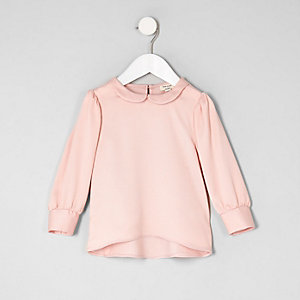 Mini girls pink collar blouse