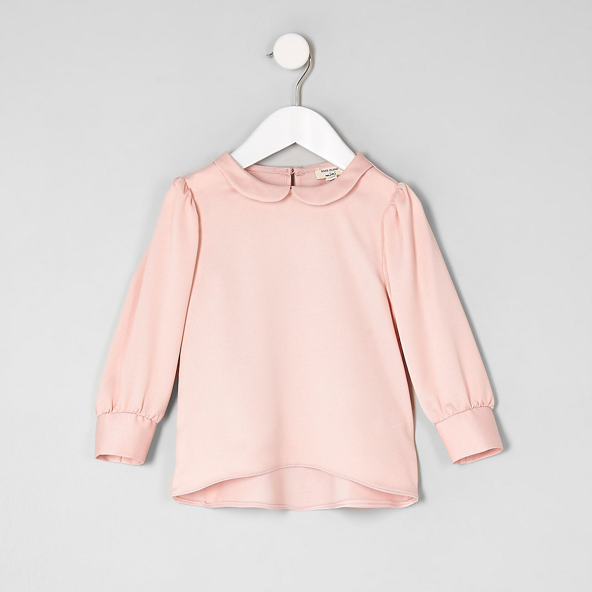 Mini girls pink collar blouse