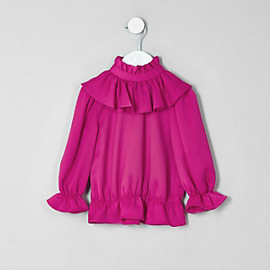 Mini girls pink high neck frill top