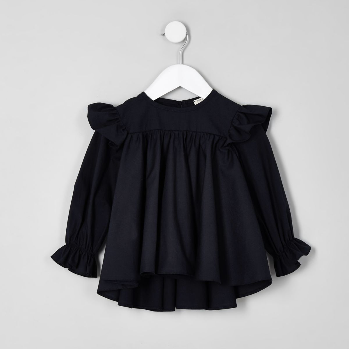 Mini girls navy frill sleeve top