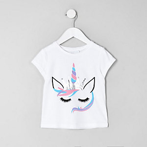 Mini - Wit cropped T-shirt met eenhoornprint voor meisjes