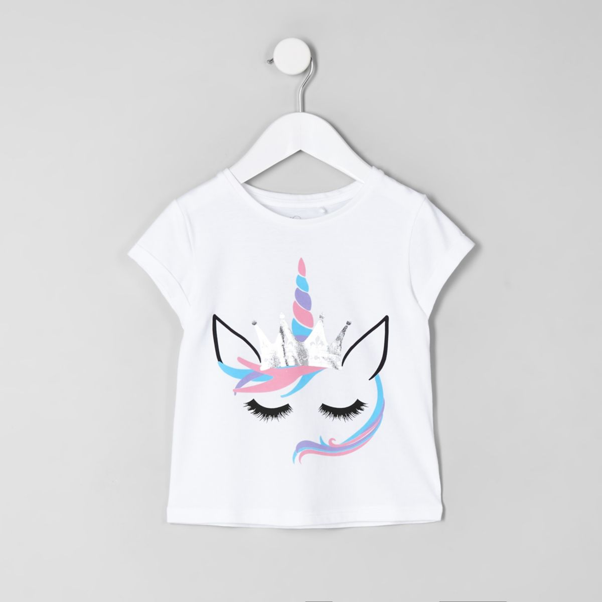 Mini girls white unicorn print crop T-shirt