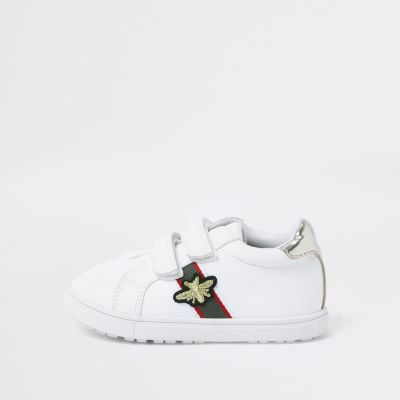 Mini Girls White Stripe Bee Plimsolls by River Island