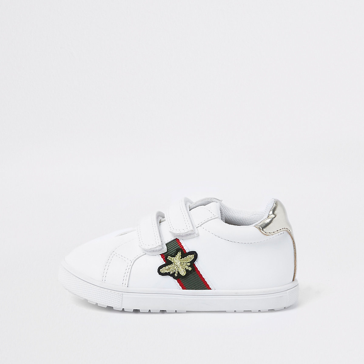 Mini girls white stripe bee plimsolls