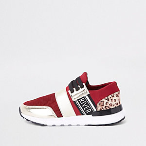 Girls dark red leopard print runner sneakers