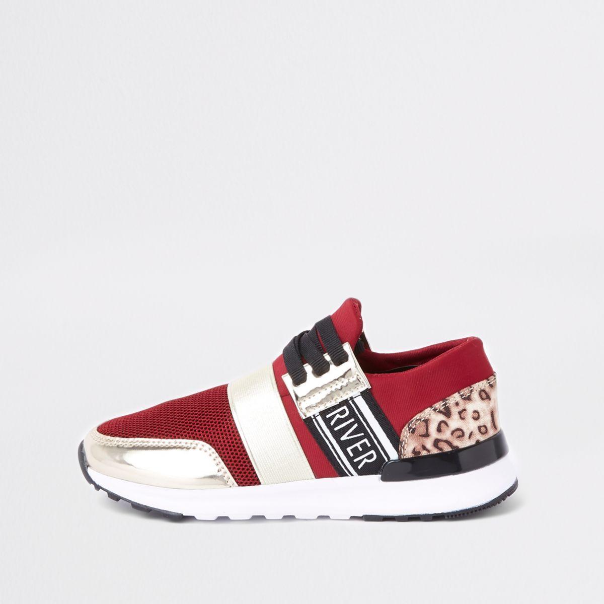 Girls dark red leopard print runner sneakers