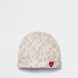 Bonnet imprimé léopard marron pour bébé