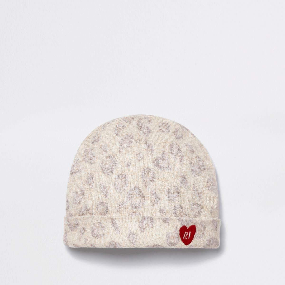 Baby brown leopard print cosy beanie hat