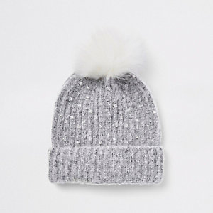 Girls grey embellished pom pom beanie hat