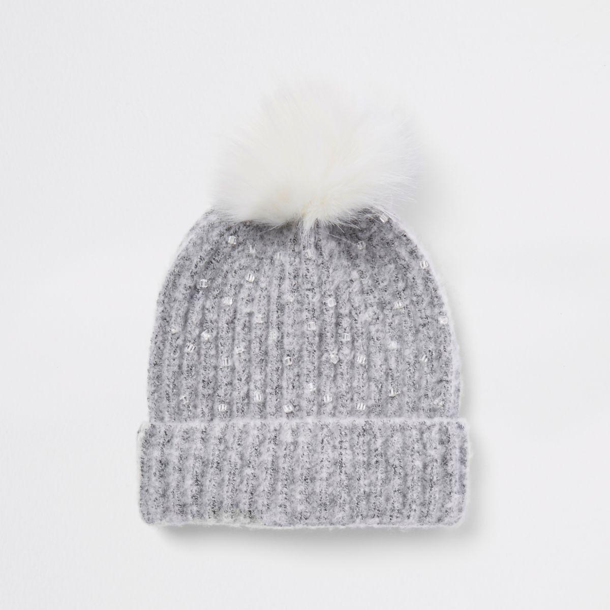 Girls grey embellished pom pom beanie hat