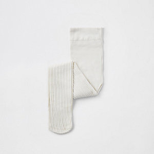 Mini girls cream cable knit tights