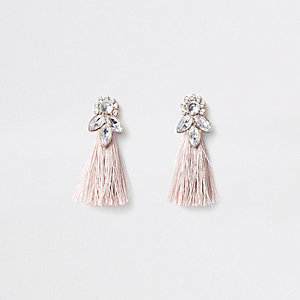 Girls pink gold tone jewel tassel earrings