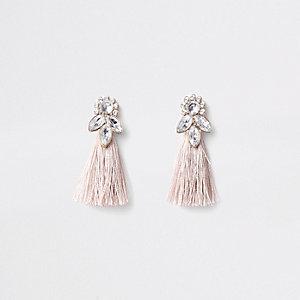 Roze-goudkleurige oorbellen met kwastjes en siersteentjes voor meisjes