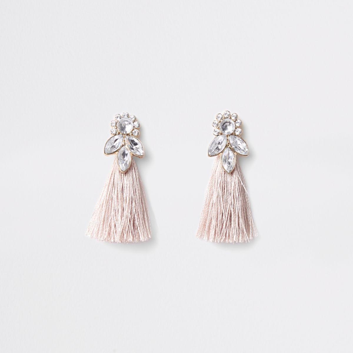 Girls pink gold tone jewel tassel earrings