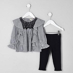 Mini - Outfit met zwarte gestreepte blouse met ruches voor meisjes