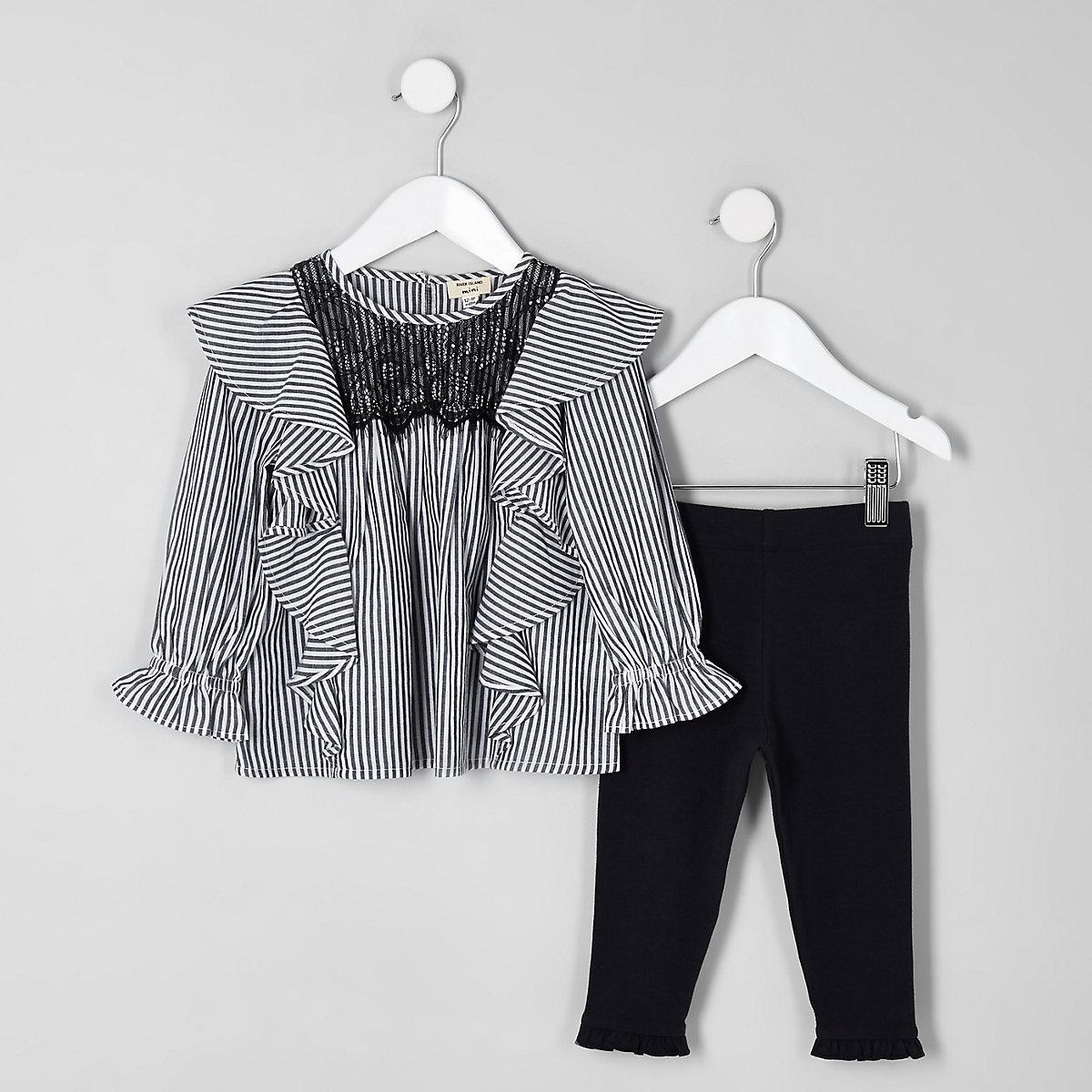 Mini girls black stripe frill sleeve outfit