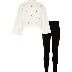 Girls cream embellished sweatshirt outfit