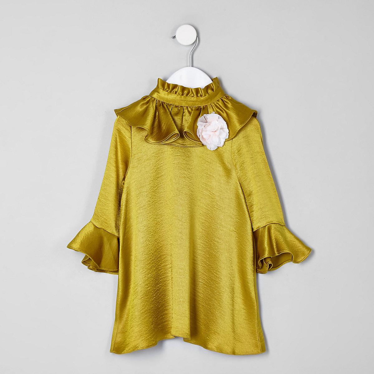 RI 30 mini girls dark yellow frill dress