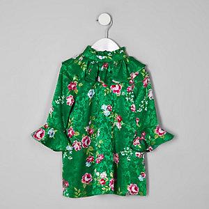 Mini - Groene hoogsluitende jurk met bloemenprint en ruches
