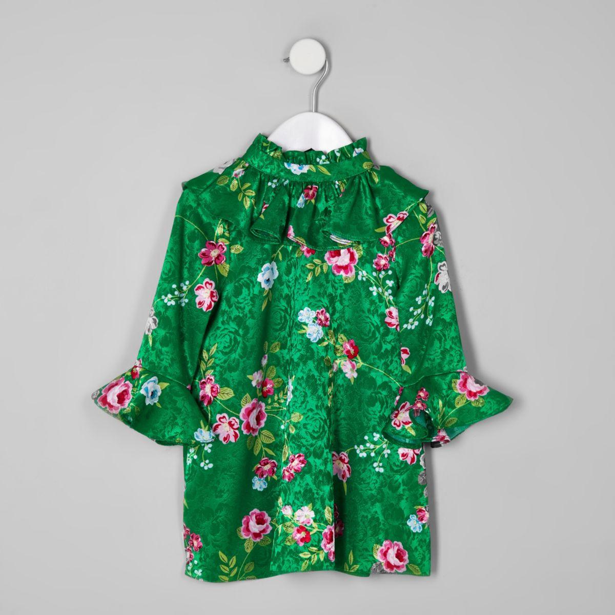 Mini girls green floral frill high neck dress