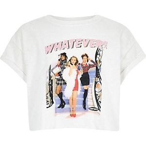 Wit cropped T-shirt met Clueless-print voor meisjes