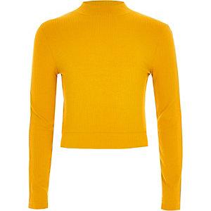 Girls yellow diamante tape side trim jumper