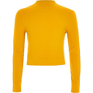 Girls yellow rhinestone tape side trim sweater