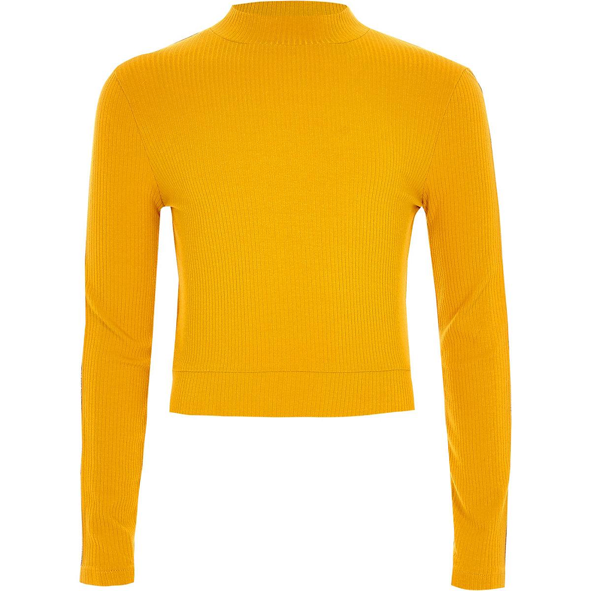 Girls yellow rhinestone tape side trim sweater