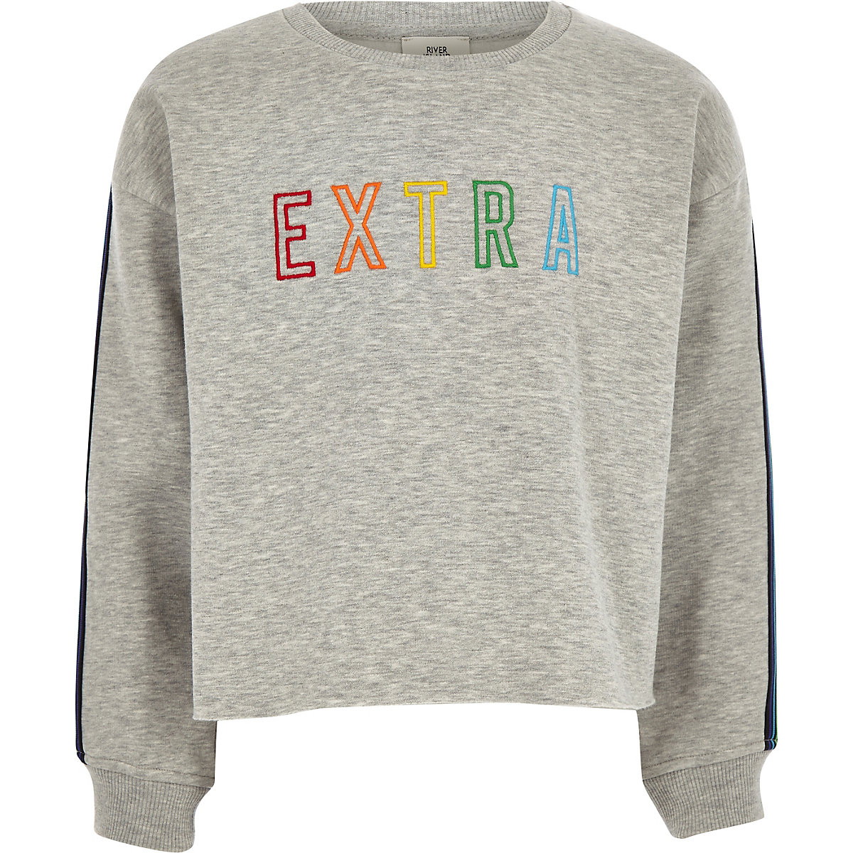 Girls light grey 'Extra' taped cropped sweater