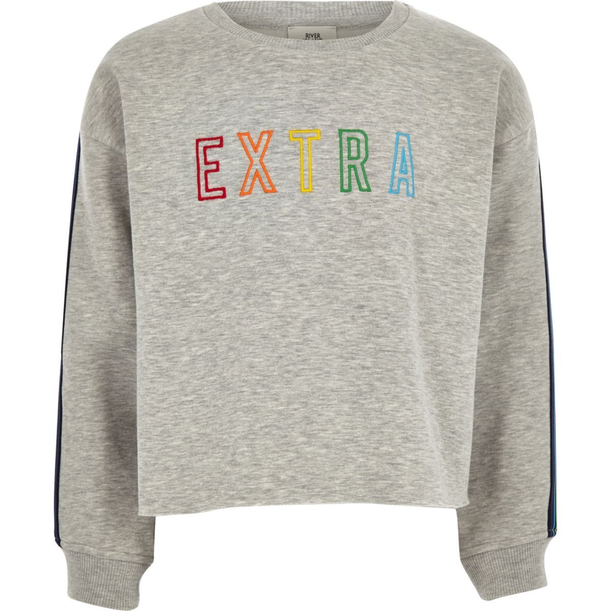 Girls light grey 'Extra' taped cropped jumper