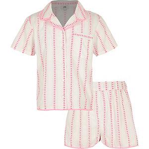 Roze pyjamaset met strepen voor meisjes