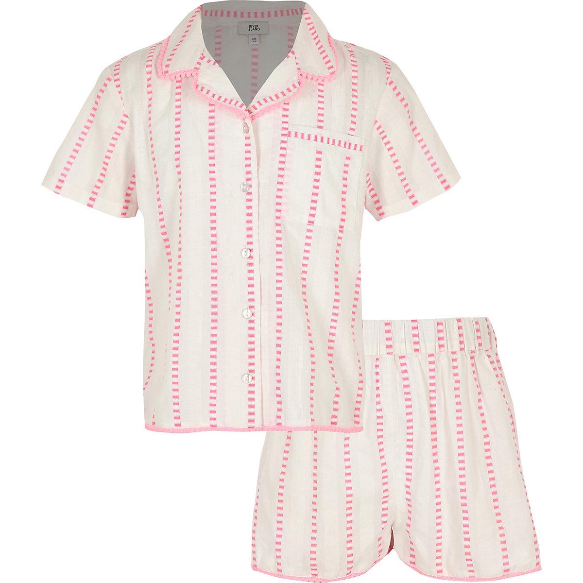 Girls pink stripe pyjama set